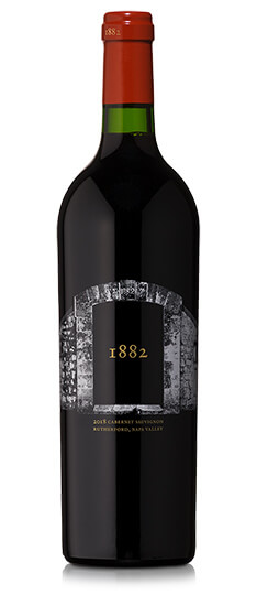 Bottle of 1882 Cabernet Sauvignon 2018 red wine.