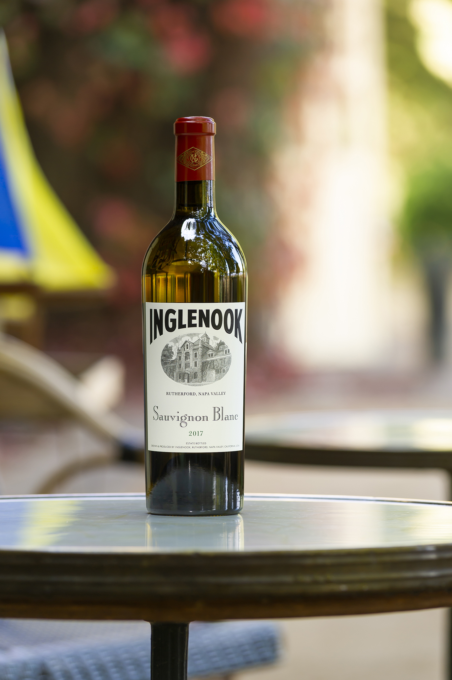 Bottle of Sauvignon Blanc on a bistro table.
