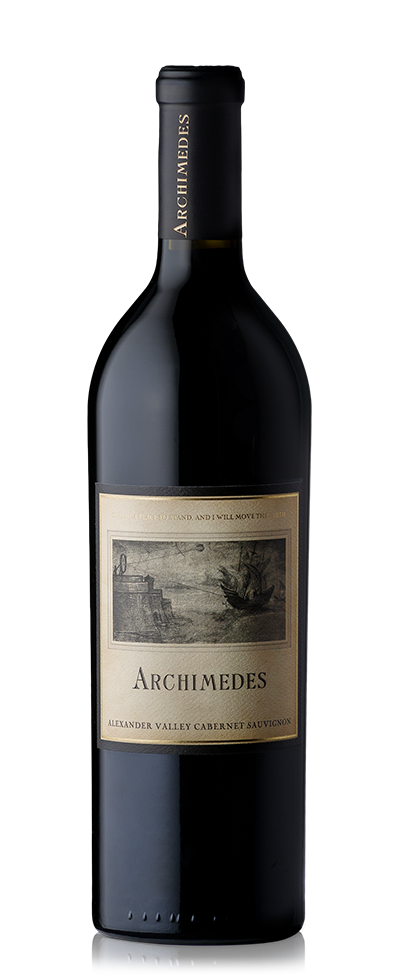 Bottle of Archimedes red wine.