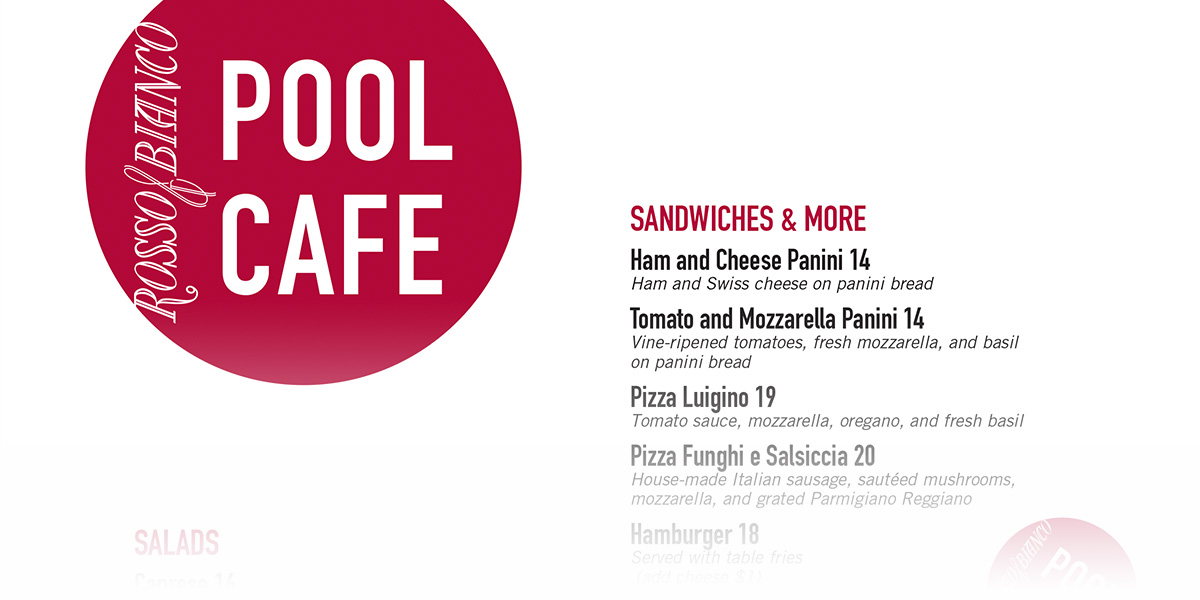 Pool Cafe Menu