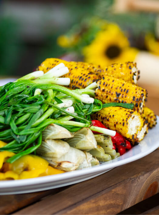 Plate of grilled vegetables.