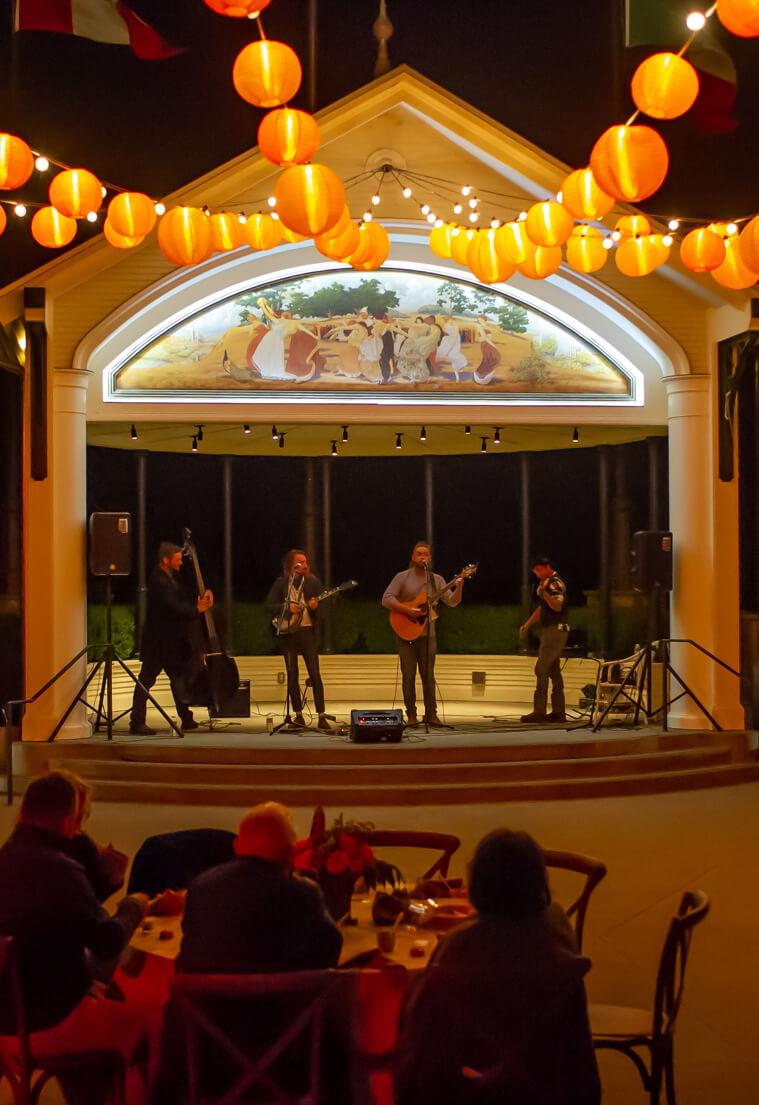 Band playing on Coppola Pavillion.