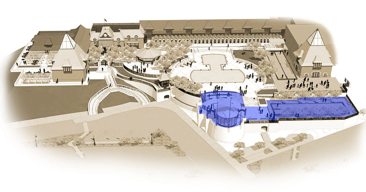 Illustrated map of Coppola Winery with outdoor pavilion in highlighted blue.
