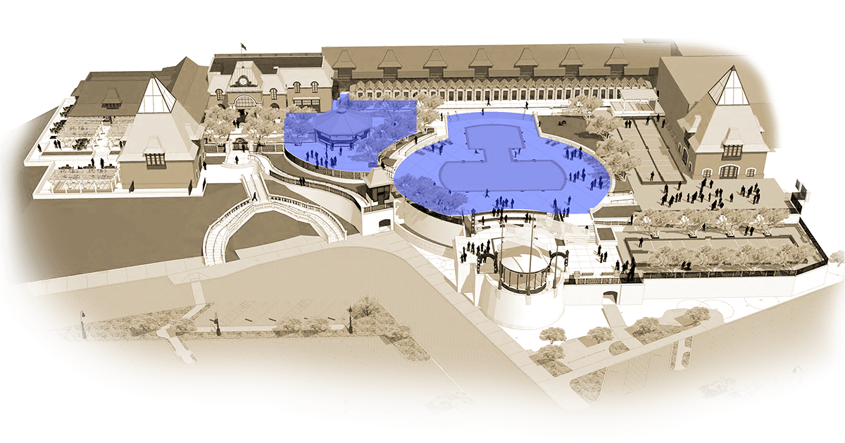 Illustrated map of Coppola Winery with Pool and outdoor cafe in highlighted blue.