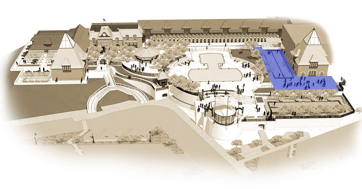 Illustrated map of Coppola Winery with West Terrace in highlighted blue.
