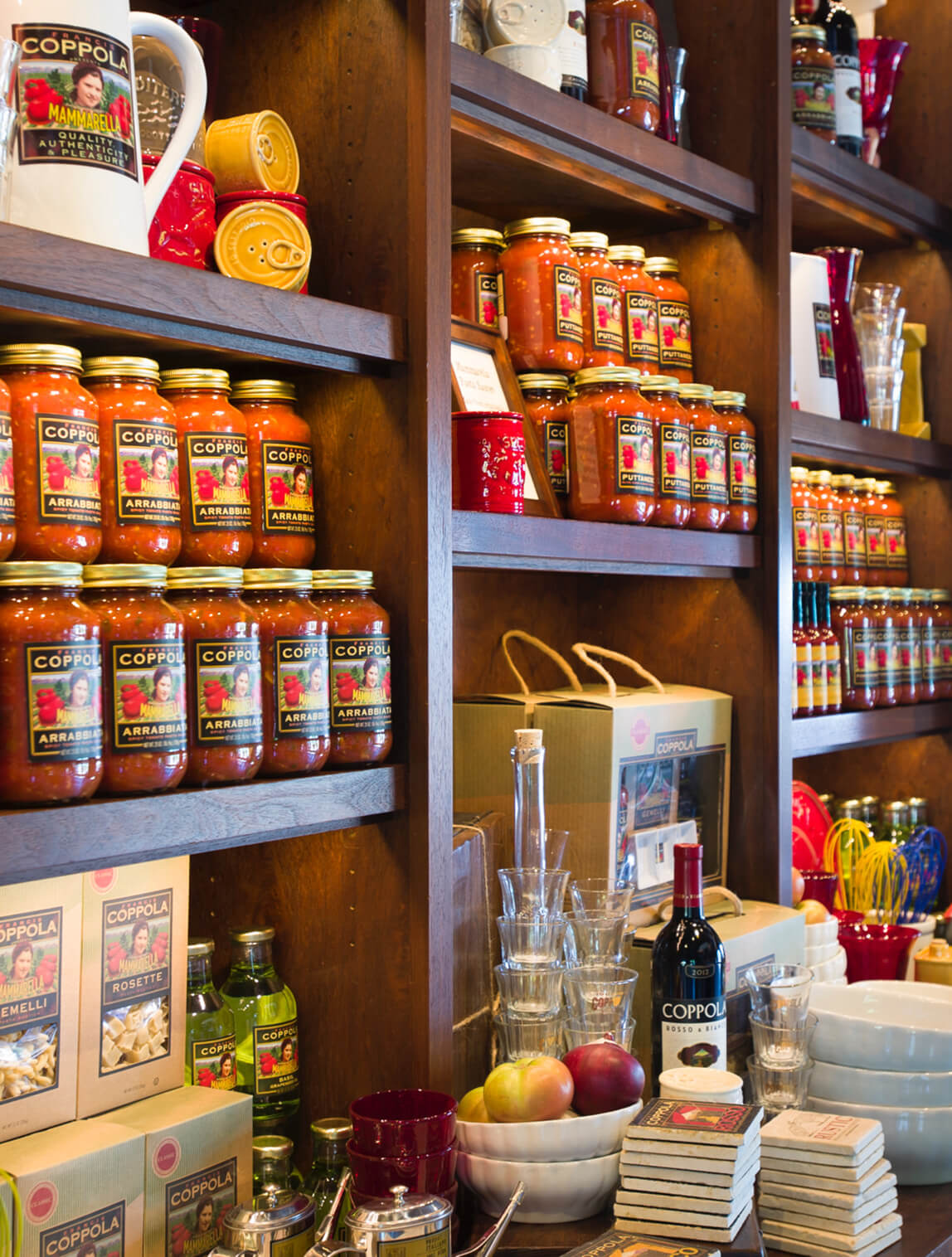Display of Mammarella products in Gift shop at Francis Ford Coppola Winery.