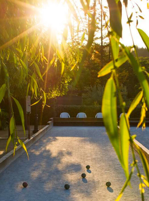 Bocce court at sunset.