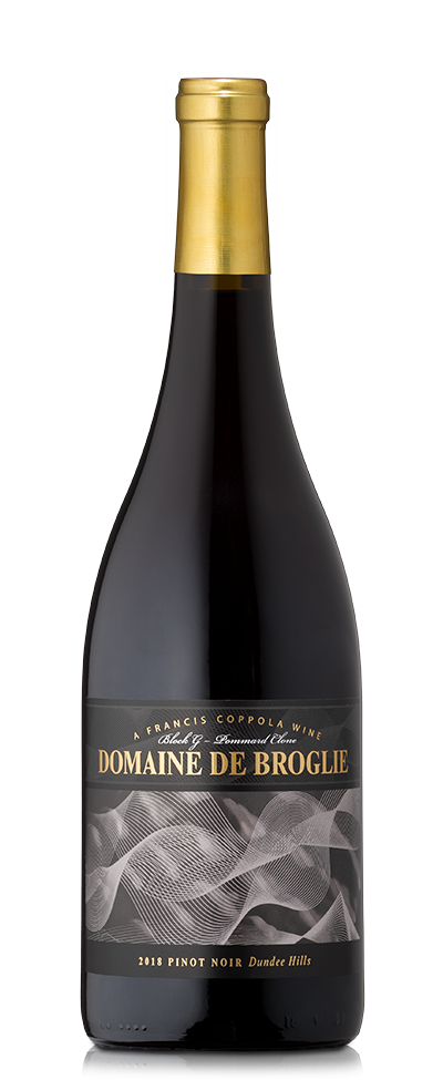 A bottle of Domaine De Broglie Pinot Noir.
