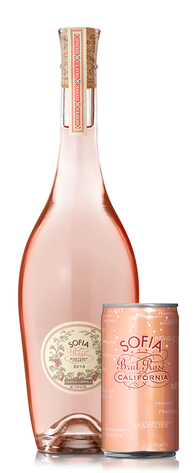 A bottle and can of Sofia Rosé.