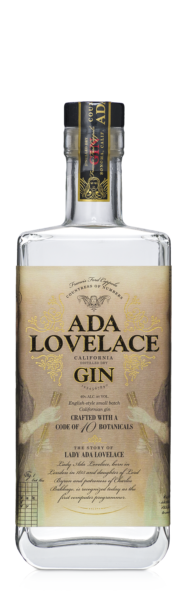 A bottle of Ada Lovelace Gin.
