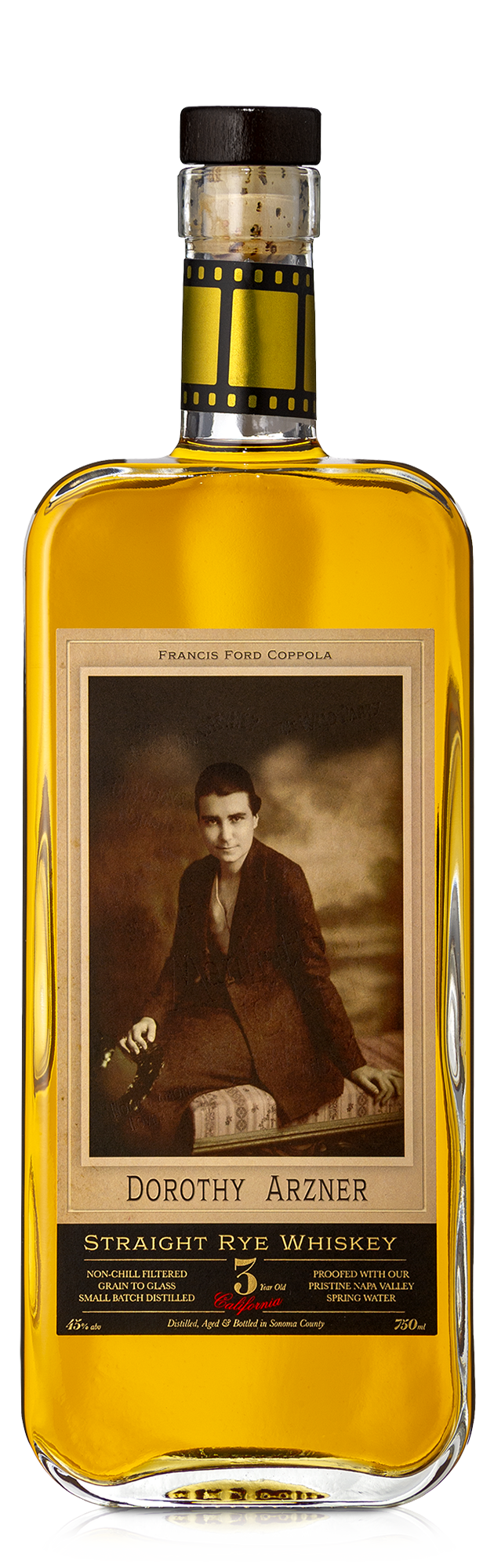 A bottle of Dorothy Arzner Rye Whiskey.
